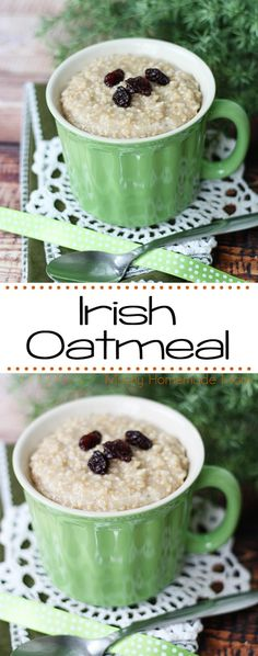Irish Oatmeal - perfect on a chilly morning! Steel cut oats with brown sugar, cinnamon, and raisins - filling and delicious!