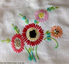 Detail of Flowers in Vintage Semco Apron stitched by Carmen Zanetti