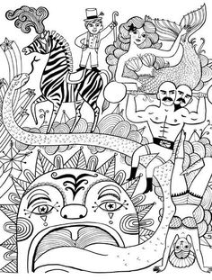 Coloring books for adults:a page from  Just Add Color -- Circus by Sarah Walsh