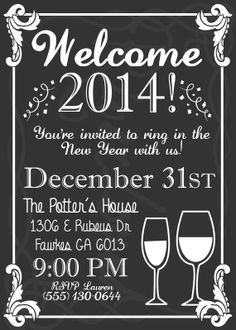 New Year Party Invitation/ Printable Chalkboard inspired New Year Party Invite