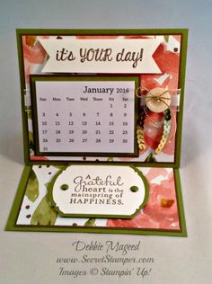 By Debbie Mageed, Stampin Up, Fabulous Four, Pursuit of Happiness, Easel Card, Calendar