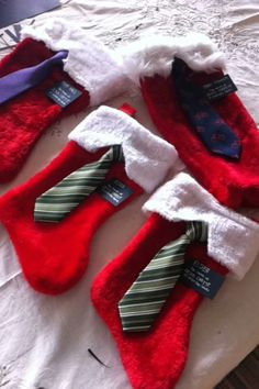 Cute missionary package idea! Perfect for Christmas and so easy to make.  Cut the little white part in a triangle to look like a shirt.  I just found little baby clip on ties and hot glued them to the stockings then used black cardstock and a silver sharpie to make the little nametags.