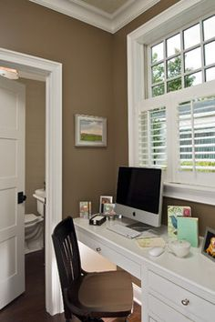 Shutters on Windows, Chocolate Taupe Color on Walls for Mud Room