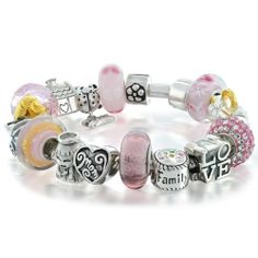Bling Jewelry Family Love Mother Beads Bracelet Pink 925 Silver Pandora Style Bling Jewelry. $259.99. Compatible with 3mm and smaller Snake Chain bracelets. Love Pink Mother's bead bracelet design. Compatible with Pandora, Biagi, Chamilia, and Troll beads!. Made of .925 Sterling Silver. Unthreaded European story bracelet design. Save 52% Off!