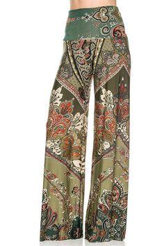 High Waist Fold Over Wide Leg Gaucho Palazzo Pants (Emerald) – Niobe Clothing