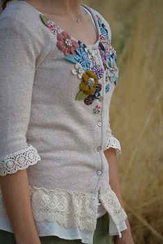 Refashioned embellished cardigan tutorial