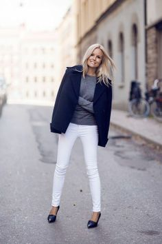 Love this look! white jeans, grey tee, navy blue coat. street style