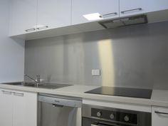 The splashback goes so well with your stainless steel appliances Kitchen Interior, Kitchen Projects, Aluminum Backsplash, Splashback, Kitchen Remodel, Stainless Steel Splashback, Kitchen, Black White Kitchen, Interior Design