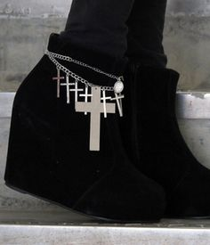 shoe jewels #crosses  I think I might do this to my combat boots