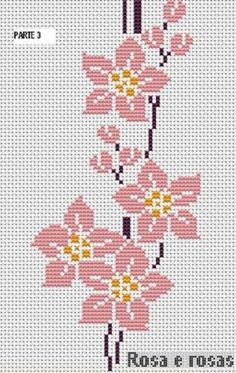 Here you can look and cross-stitch your own flowers. Cross Stitch Borders, Cross Stitch Flowers, Cross Stitch Designs, Cross Stitching, Cross Stitch Embroidery, Cross Stitch Patterns, Simple Embroidery, Hand Embroidery Patterns, Beading Patterns