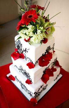 Cake Girls Inspired Wedding Cake Original design inspired by the cake girls. I love how it translates onto the square shape! Amazing Wedding Cakes, Amazing Cakes, Girl Cakes, Cake Girls, Black And White Wedding Cake, Cupcake Cakes, Cupcakes, Cake Central, Edible Art