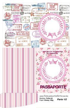 Passaporte Coroa de Princesa Rosa Floral