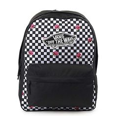 Carry your daily essentials with confidence with the Realm Rose Checkerboard Backpack from Vans. This rose and checkerboard canvas backpack features a retro Vans skateboard logo patch at the front and is equipt with a large main compartment, a padded lapt Black Backpack School, Vans Backpack, Backpack For Teens, Backpack Bags, Fashion Backpack, Cute Black Backpack, Cute Backpacks For School, Cute Mini Backpacks, Cool Backpacks