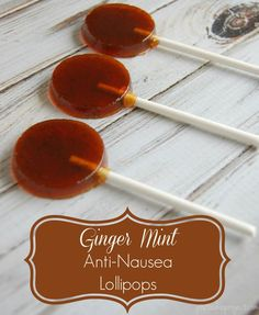 Ginger Mint Anti-Nausea Lollipops - When you have to deal with morning sickness, it's nice to know that something as simple as a lollipop can take the edge off of things and help you keep down those few crackers you were able to eat! Unlike store bought anti-nausea lollipops these homemade lollipops contain no high fructose corn syrup, refined sugars, or other crazy ingredients. #antinausea #morningsickness #pregnancy #1sttrimester #naturalpregnancy #preggiepops
