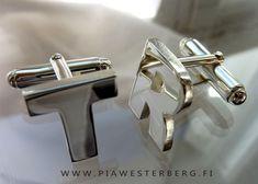 Cufflinks in sterling silver. Handmade by Pia Westerberg Finland Finland, Cufflinks, Jewelry Design, Sterling Silver, Handmade, Men, Accessories, Hand Made, Guys