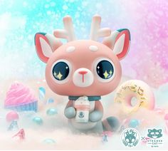DeerCat Cotton Candy Sparkle Edition 19cm vinyl figure by Amber Aki Huang x Strangecat Toys Vinyl Toys, Vinyl Art, Vinyl Figures, Action Figures, Broken Together, Yellow Guy, Toy Art, Fun Cup, Visual Development