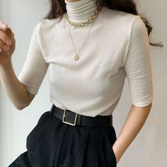A comfortable piece that makes a statement to any outfit, wear it with cream trousers or dark blue denim to complement the pastel yellow shade. Cream Trousers, Oak And Fort, Minimalist Wardrobe, Spring Summer Trends, Shades Of Yellow, Looking For Women, Mock Neck, Casual Chic, Autumn Winter Fashion
