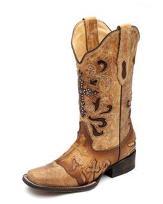 Women's Antique Saddle Metal Cross Boot - C1167