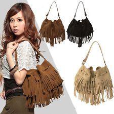 Vintage Women Shoulder Bag Fringe Tassel Drawstring Bucket Messenger Handbags