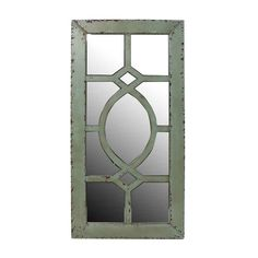 Green Wall Mirror A unique lattice design and weathered light green finish gives this wall mirror an unexpected touch. Lightly distressed $149.99 #mirrors #homedecor #vintageinspired