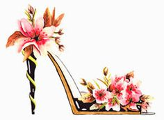 Fine Art Print Flower Shoes Watercolor by NYoriginalpaintings, #valentinegifts #flowergifts #valentinesday