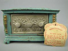Antique Cast Iron Radio Coin Bank Kenton Toys Oh w Tag   eBay