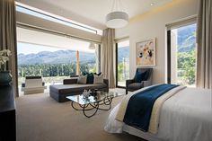 A dream holiday house for sale in South Africa: Each room features unparalleled views of the Franschhoek Valley and a private terrace. Farmhouse Architecture, Modern Farmhouse Exterior, House Viewing, Dream House Interior, Vogue Living, Modern Masters, Home Bedroom, Master Bedrooms, Master Suite