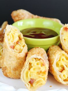 Mac 'n' Cheese Egg Rolls with Bacon & BBQ sauce for dipping.