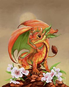 Peach Dragon Digital Art by Stanley Morrison