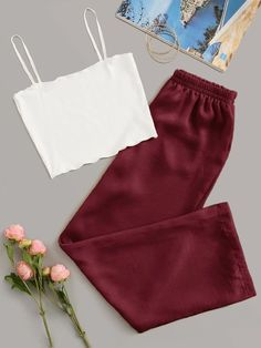 Rib Cami Top With Pants PJ SetCheck out this Rib Cami Top With Pants PJ Set on Romwe and explore more to meet your fashion needs! Cute Lazy Outfits, Stylish Outfits, Cool Outfits, Cute Pajama Sets, Cute Pajamas, Pajama Outfits, Crop Top Outfits, Teen Fashion Outfits, Outfits For Teens