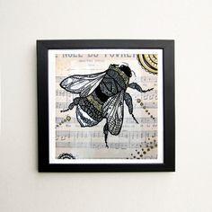 Honey Bee Zentangle Art Print - zenspiration