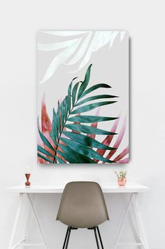 Plant Painting, Plant Art, Home Decor Wall Art, Art Decor, Decoration, Boho Dekor, Botanical Wall Art, Painted Leaves, Minimalist Art