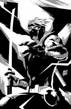 Alex Ogle / Ninjak in B&W.
