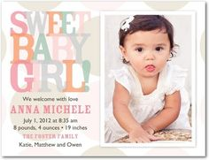 Birth Announcement Postcards Sheer Sweetness - Front : Watermelon
