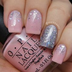 """Chic nails in pink and silver glitter. """"Sparkle"""" nails for #nailartmar. OPI """"I Theodora You"""" and """"Which Is Witch?"""" as well as Sally Hansen """"Pedal to the Metal"""" as a base color under WIW."""