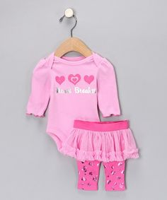 Take a look at this Pink 'Heart Breaker' Bodysuit & Skirted Leggings by Blow-Out on #zulily today!