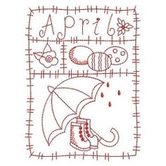 Redwork 12 Months of the Year, April - 3 Sizes! | What's New | Machine Embroidery Designs | SWAKembroidery.com Ace Points Embroidery
