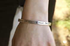 skinny initial cuff silver aluminum bracelet by threechickscouture - 30 character limit 1. i am only passionately curious 2. the poetry of the earth is never dead