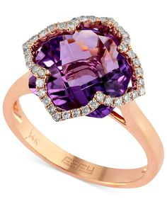 Lavender Rose by Effy Amethyst (5-3/4 ct. t.w.) and Diamond (1/5 ct. t.w.) Clover Ring in 14k Rose Gold