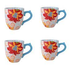 Grace's Tea Ware Dutch Wax 14 oz. Grace's Tea Ware Mug Set Hawaiian Floral 4 Piece Set