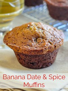 Banana Date Spice Muffins. It's very quick and easy to whip up a batch of these tasty muffins and yet another great way to use up those speckled ripe bananas that always seem to be sitting on the counter top. Low Fat Muffins, Date Muffins, Healthy Muffins, Bran Muffins, Breakfast Muffins, Banana Bread Recipes, Muffin Recipes, Just Desserts, Dessert Recipes
