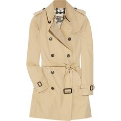 Burberry London Mid-length cotton-gabardine trench coat ($1,395) ❤ liked on Polyvore featuring outerwear, coats, jackets, tops, cotton coat, cotton trench coat, beige trench coat, mid length coat and gabardine trench coat