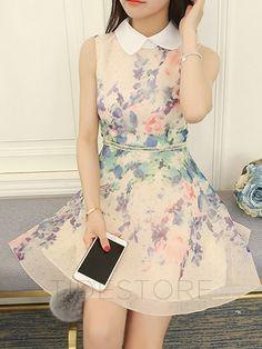 Floral Imprint Sleeveless Chiffon Skater Dress