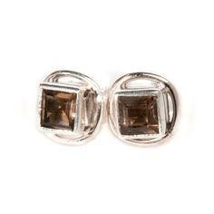 Smokey Quartz Silver Stud Earrings by Charlotte's Web | Charlotte's Web