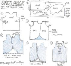 Free split back tank top pattern - easy to follow and can be made for any size