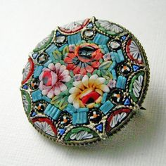 Antique micromosaic brooch