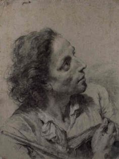 Giovanni Battista Piazzetta (Italian, 1682–1754) - An astronomer holding a book and a telescope, looking to the right. Black Crayon, 40.6 x 31 cm. (16 x 12.2 in.)