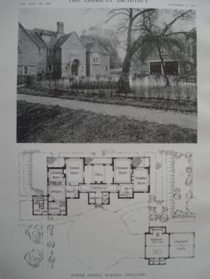 A Beautifully Detailed, Original Lithograph of the Esher Lodge with Plans, in Surrey, England EARLY PHOTOGRAPH. Messrs. Sheppard & Harris, Architects, From the American Architect and Building News, No