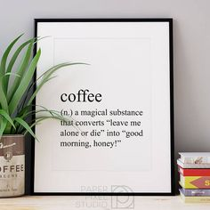 Coffee definition print, printable art, dictionary print, coffee art, hot coffee, coffee wall art, printable wall art, gift for her