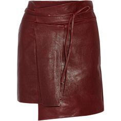 Isabel Marant Foften wrap-effect leather mini skirt (1.606.960 COP) ❤ liked on Polyvore featuring skirts, mini skirts, bottoms, burgundy, burgundy leather skirt, wrap mini skirt, red mini skirt, burgundy mini skirt and short mini skirts